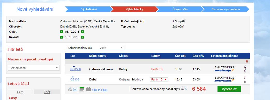 Nová linka: Ostrava => Dubaj - 6584 Kč