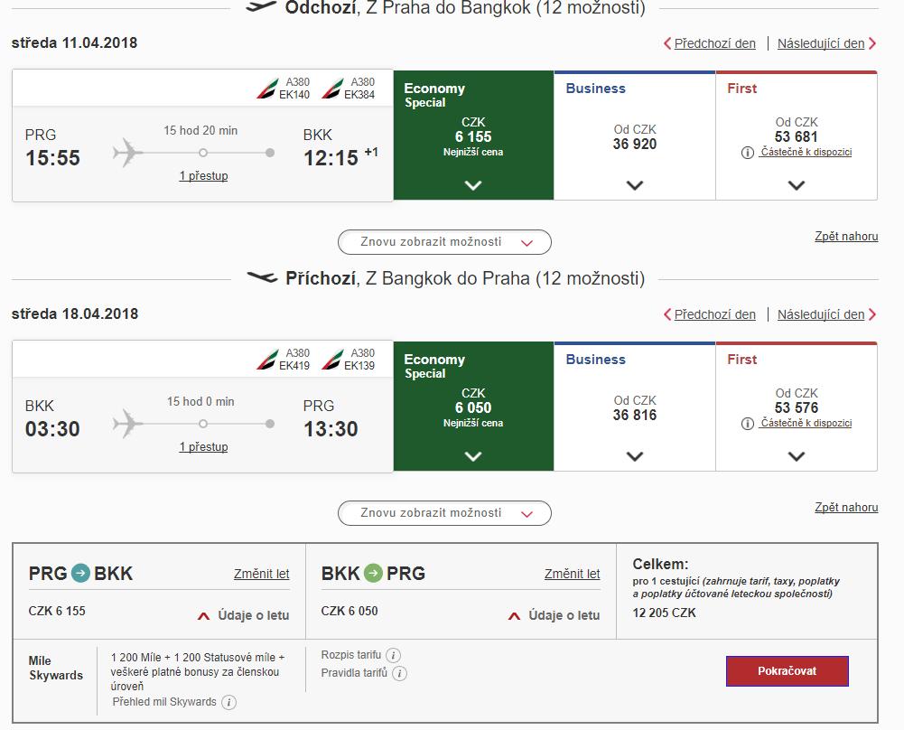S Emirates do Thajska - 12 205 Kč