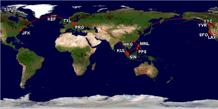 Cesta kolem světa za 28 213 Kč