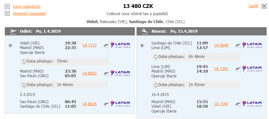 Chile či Peru z Vídně od 13 480 Kč