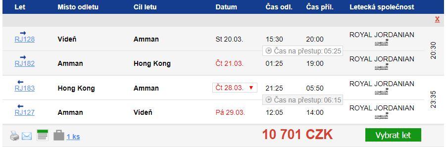 Hong Kong z Vídně za 10 701 Kč