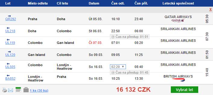 Katar + Maledivy + Srí Lanka - 16 132 Kč