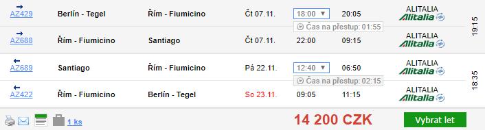 Chile - Santiago z Berlína za 14 200 Kč