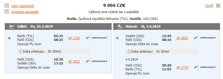 Seattle z Berlína za 9 066 Kč