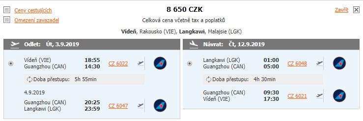 Langkawi z Vídně za 8 650 Kč