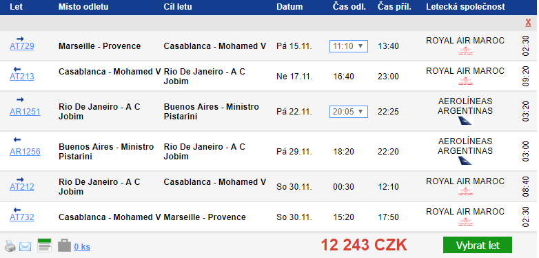 MEGA TRIP: Francie+Maroko+Brazílie+Argentina = 14 088 Kč
