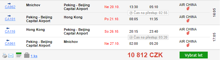 2v1: Hongkong + Peking z Mnichova za 10 812 Kč