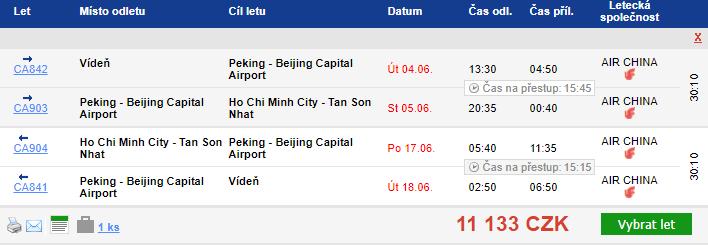 Vietnam z Vídně za 11133 Kč