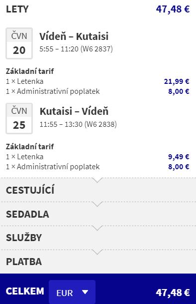 Gruzie - Kutaisi z Vídně během léta za 1 227 Kč
