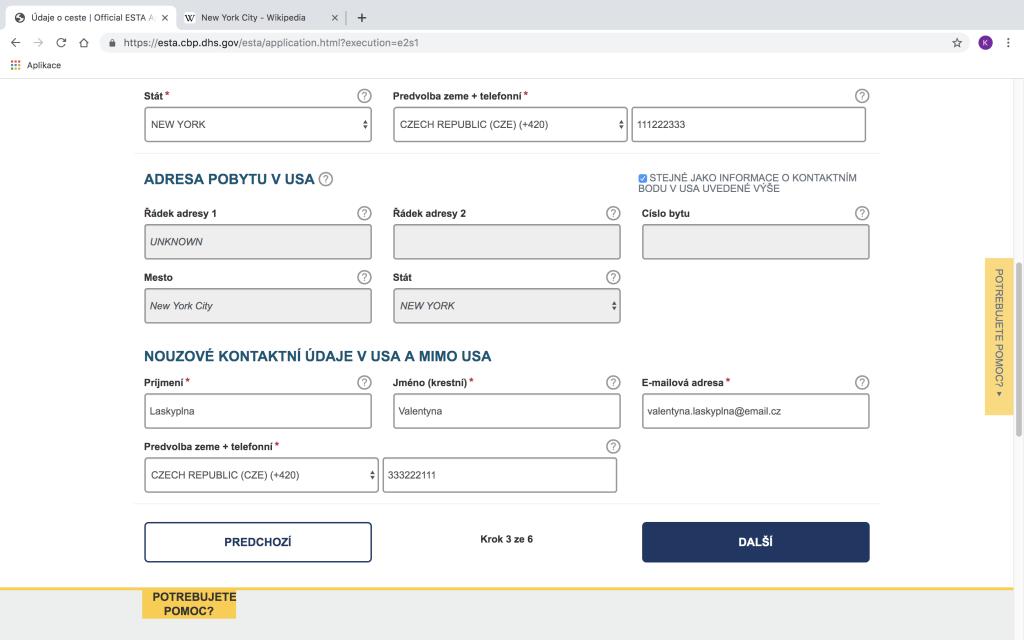 Jak vyplnit formulář ESTA