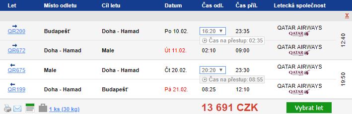 Maledivy s Qatar Airways z Budapešti za 13 691 Kč