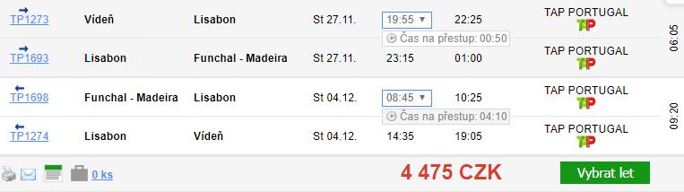 Madeira z Vídně za 4 475 Kč