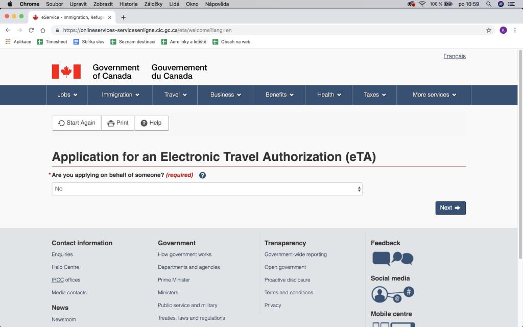 Jak vyplnit formulář eTA, krok za krokem