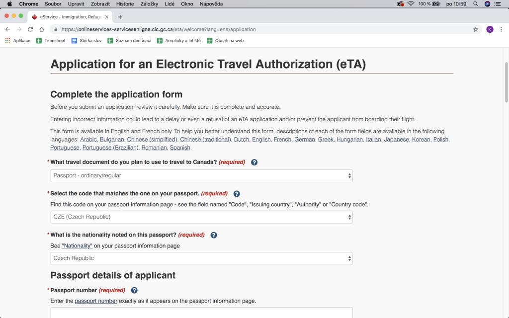 Jak vyplnit formulář eTA