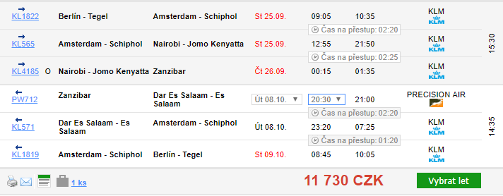 Zanzibar z Berlína za 11 730 Kč