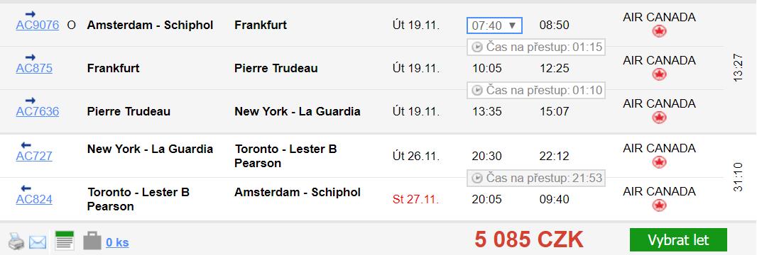 3v1: New York + Toronto + Amsterdam z Prahy za 6 353 Kč