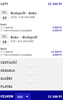Ázerbájdžán - Baku z Budapešti za 1 652 Kč