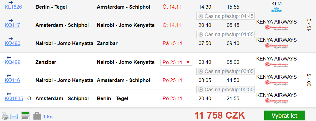 Zanzibar z Berlína za 11 758 Kč