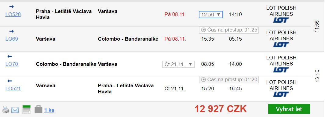 Srí Lanka - Colombo z Prahy za 12 927 Kč