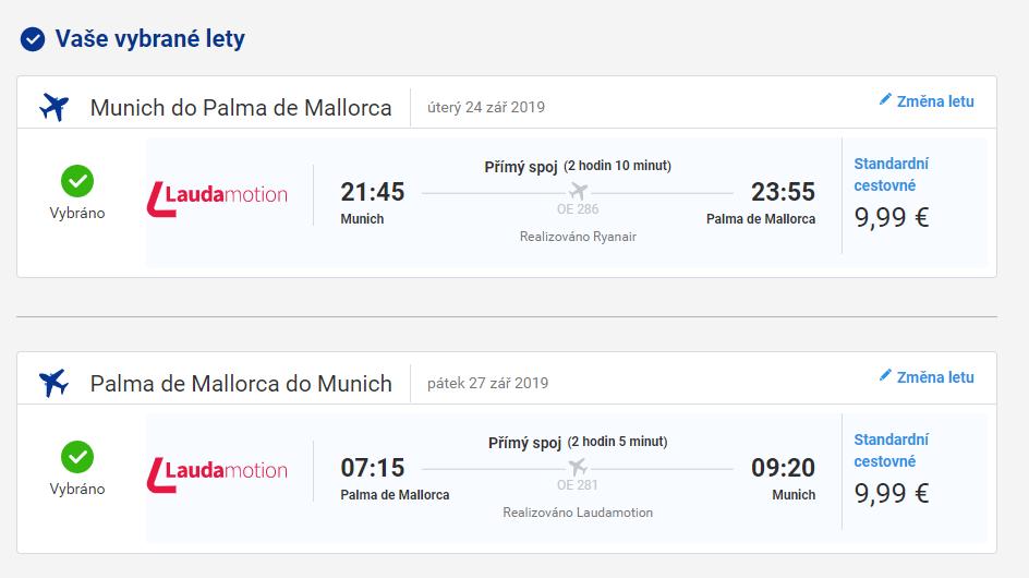 Mallorca z Mnichova za 515 Kč