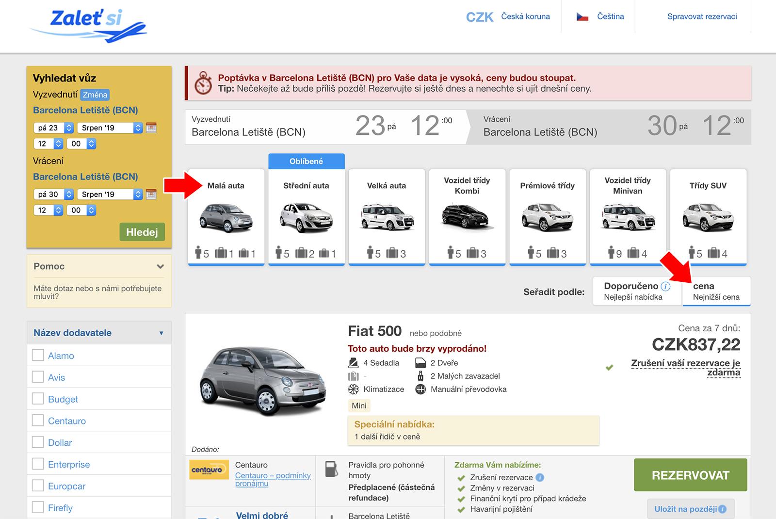 Jak najít nejlevnější auto