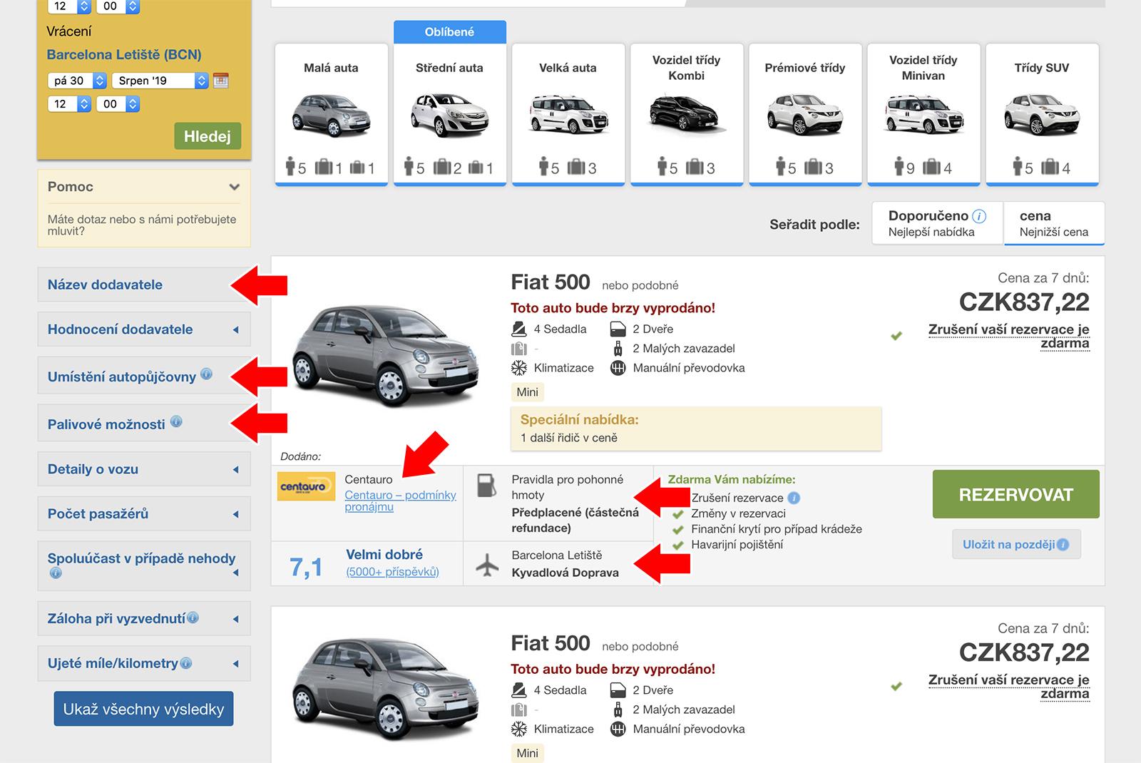 Dodavatel, umístění autopůjčovny a palivové možnosti