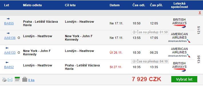 Náhled letenky z Prahy do New Yorku