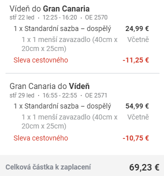 Kanárské ostrovy - Gran Canaria z Vídně za 1 792 Kč