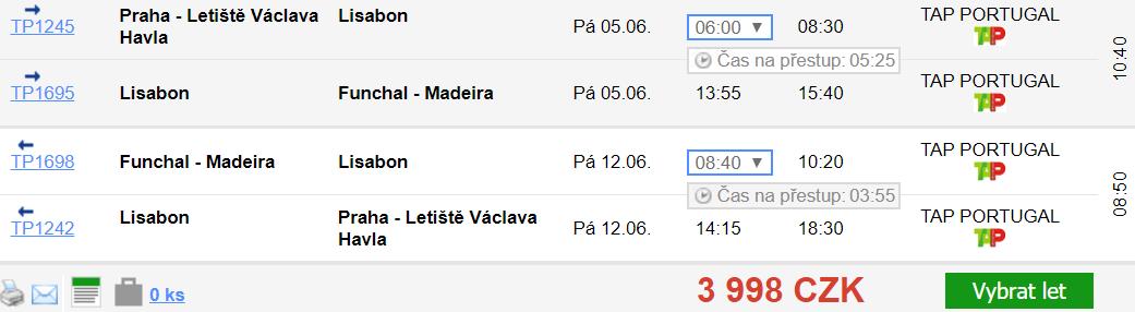 Madeira z Prahy za 3 998 Kč