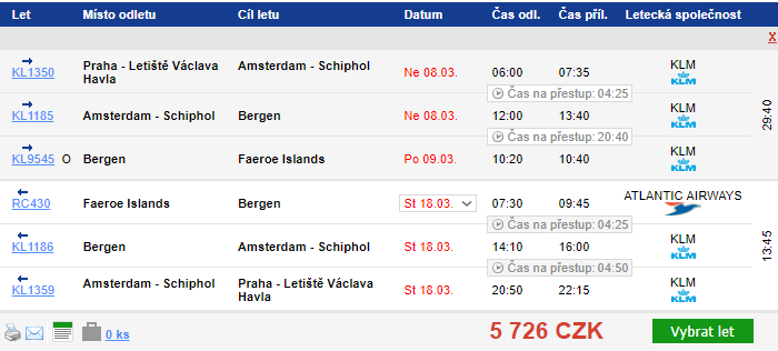 Faerské ostrovy z Prahy za 5 726 Kč