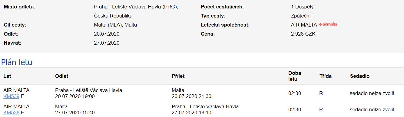 Malta z Prahy během léta za 1 963 Kč