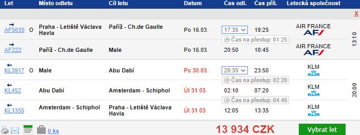 Maledivy z Prahy za 13 934 Kč