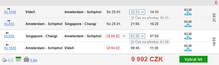 Singapur z Vídně za 9 992 Kč