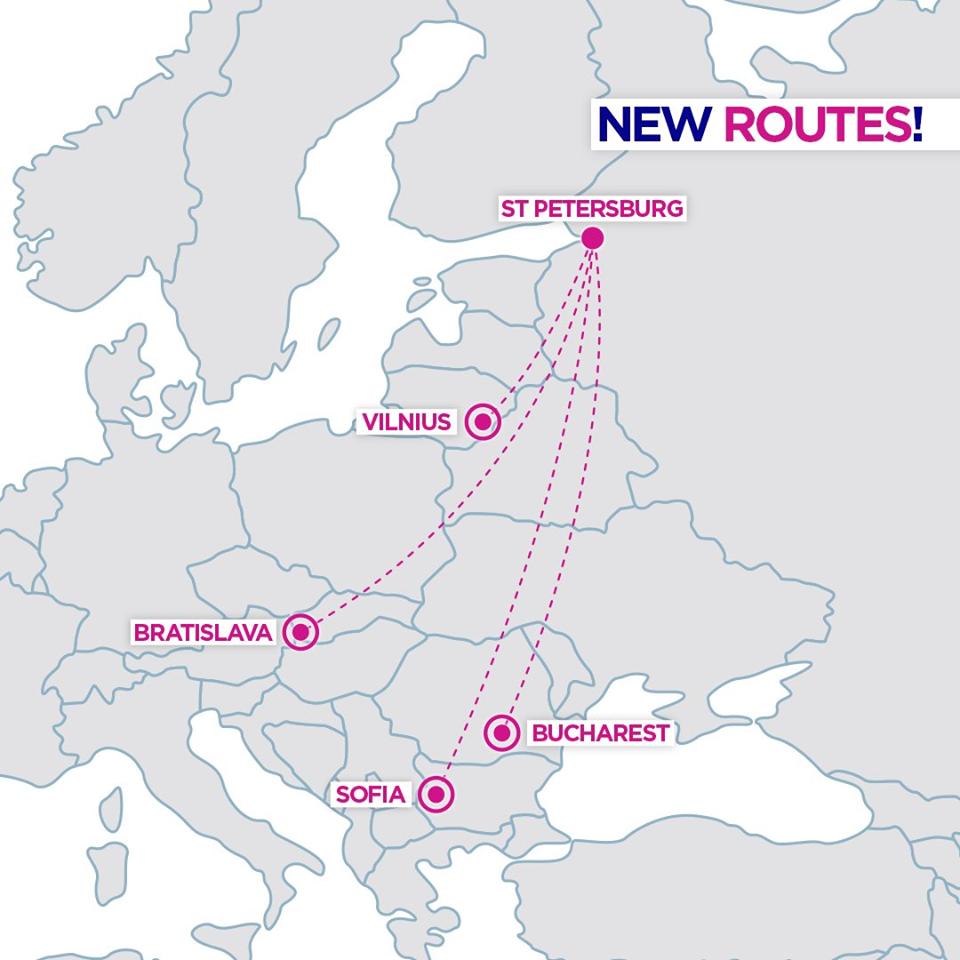 Nová linka: Bratislava - Petrohrad by Wizz Air