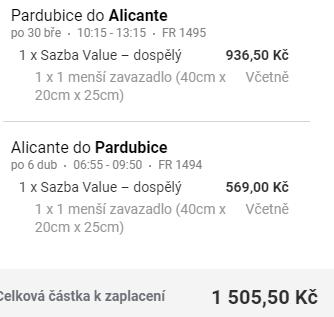 Z Pardubic ke Středozemnímu moři do Alicante