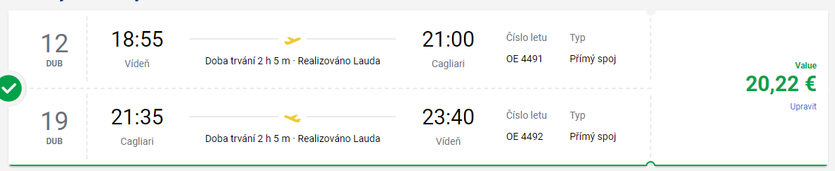 Z Vídně na Sardinii do Cagliari