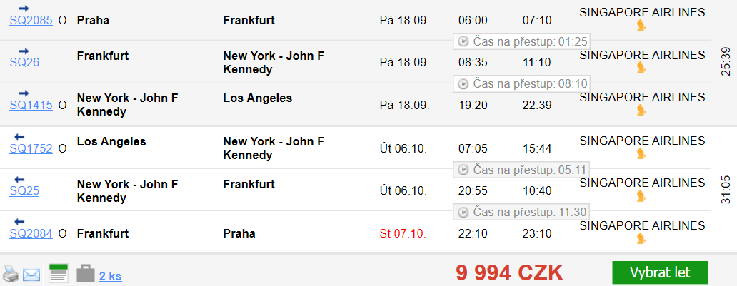 Los Angeles z Prahy se zastávkou v New Yorku