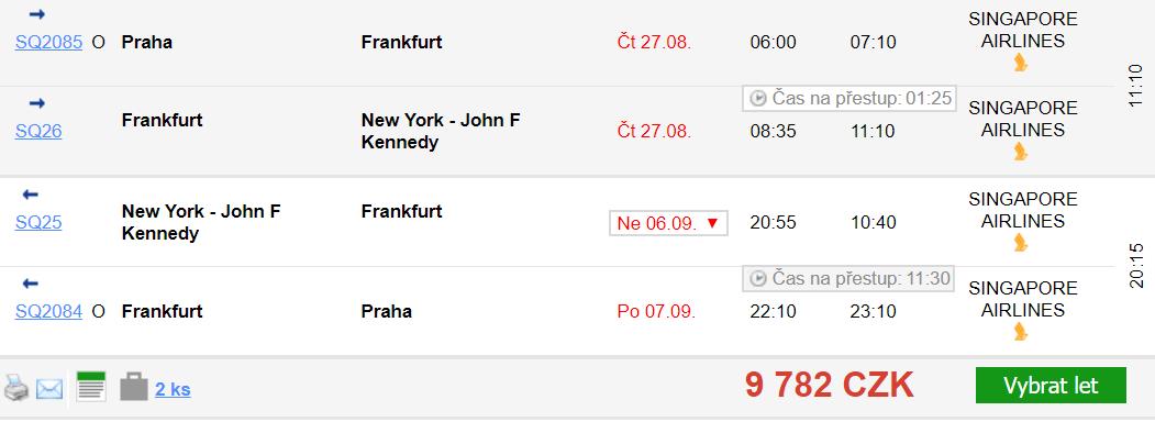 Přehled akčních letenek z Prahy do New Yorku
