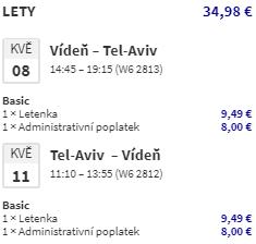 Izrael - Tel Aviv z Vídně nejen na prodloužený víkend