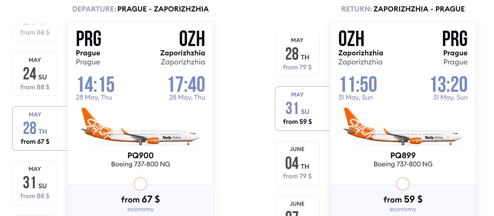 Nová linka: Praha - Záporoží by SkyUp
