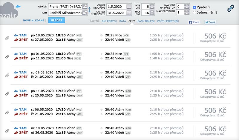 Jak hledat letenky na AZair