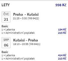 Gruzie: z Prahy do Kutaisi již během tohoto léta