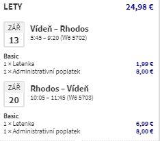 Řecký ostrov Rhodos z Vídně během srpna a září