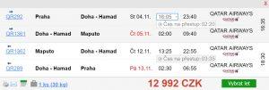 Do Mosambiku z Prahy s Qatar Airways