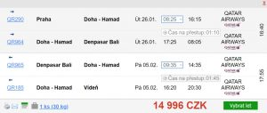 Z Prahy na Bali s Qatar Airways (návrat do Vídně)