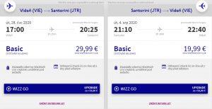 Řecko: Santorini z Vídně o letních prázdninách