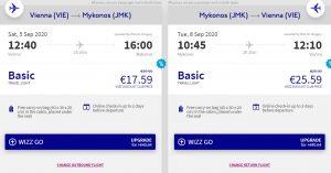 Řecký ostrov Mykonos o letních prázdninách z Vídně