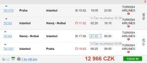 Přehled akčních letenek z Prahy do Hanoje s Turkish Airlines a Qatar Airways