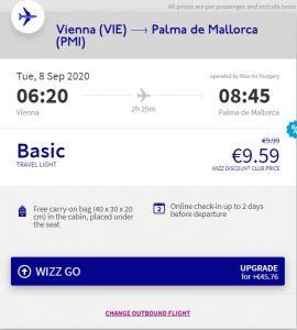 Jednodenní koupačka na ostrově Mallorca z Vídně s návratem do Prahy