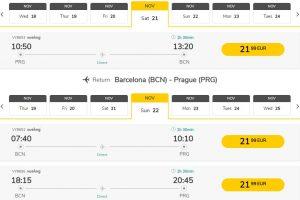 Podzimní flexibilní letenka z Prahy do Barcelony